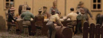 A close-up image of some of the figurines in the Miniature Railroad and Village