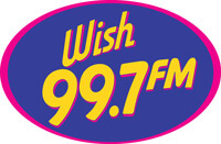 Wish 99.7 FM logo in pink, purple, and yellow