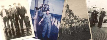 Old photographs of sailors on deck of USS Requin